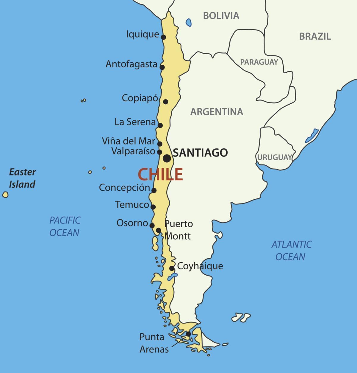 Il cile, paese sulla mappa - Mappa del Cile paese (America del Sud -  America)
